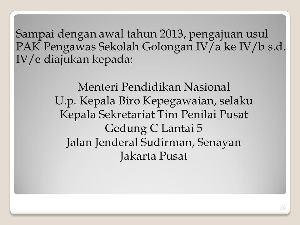 Sampai dengan awal tahun 2013, pengajuan usul PAK Pengawas Sekolah Golongan IV/a ke IV/b s.d.