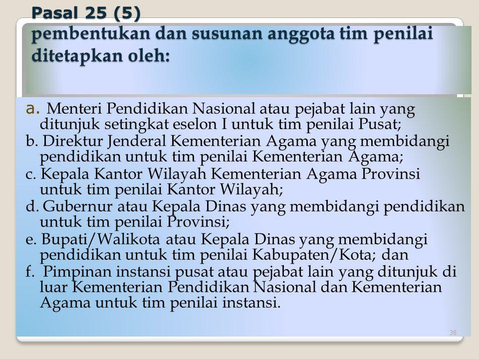 Pasal 25 (5) pembentukan dan susunan anggota tim penilai ditetapkan oleh: