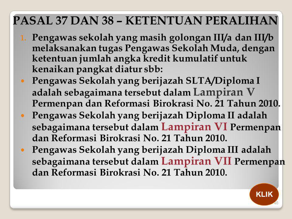 PASAL 37 DAN 38 – KETENTUAN PERALIHAN