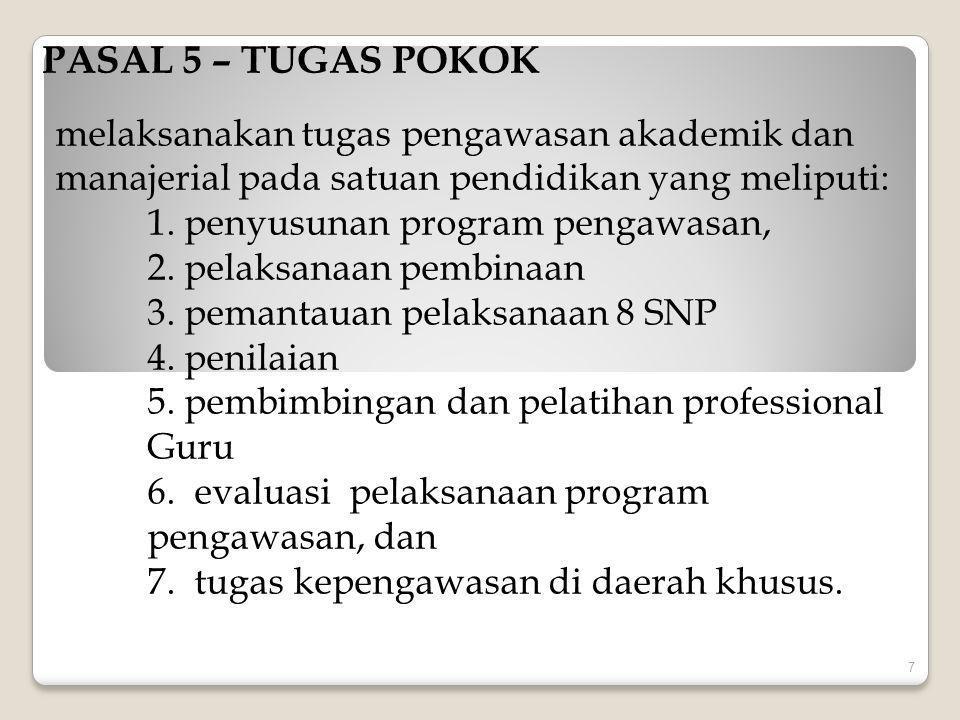 PASAL 5 – TUGAS POKOK melaksanakan tugas pengawasan akademik dan manajerial pada satuan pendidikan yang meliputi: