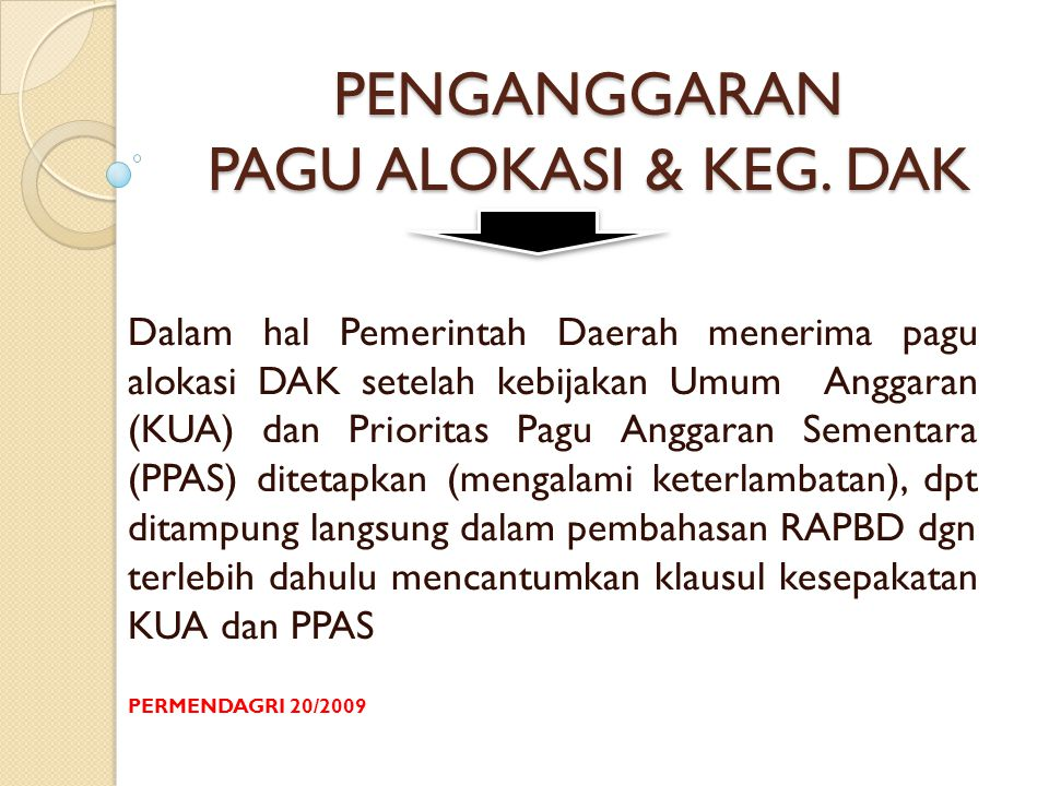 PENGANGGARAN PAGU ALOKASI & KEG. DAK