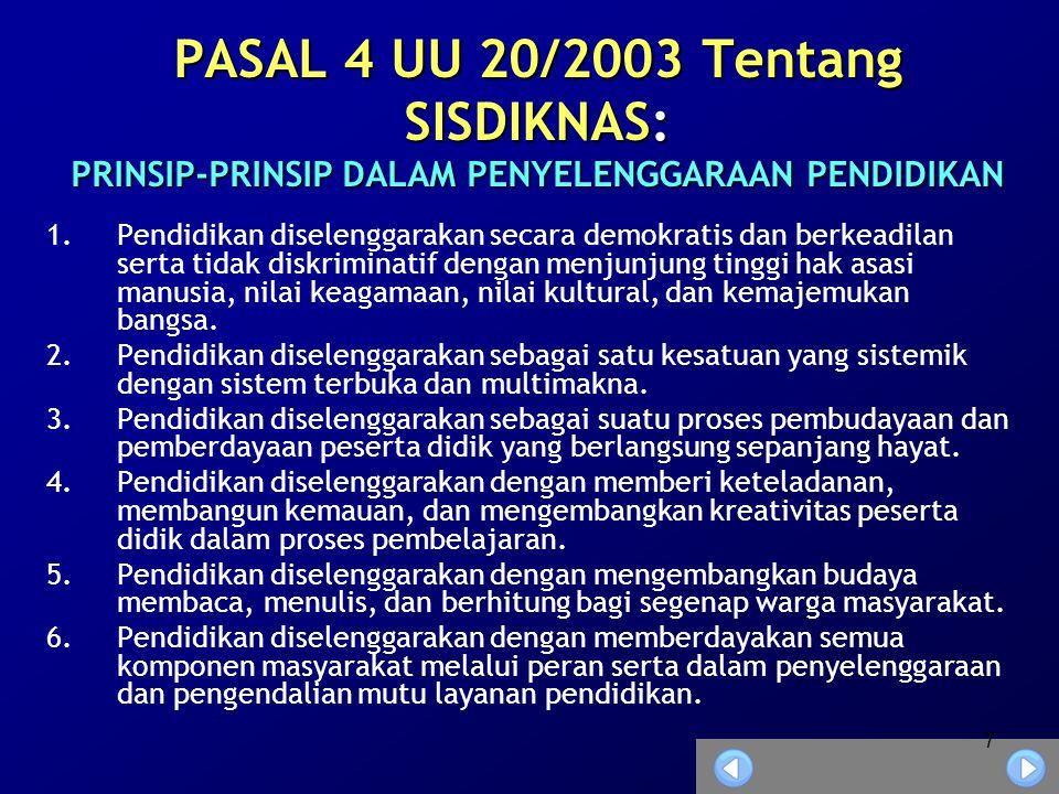 PASAL 4 UU 20/2003 Tentang SISDIKNAS: PRINSIP-PRINSIP DALAM PENYELENGGARAAN PENDIDIKAN