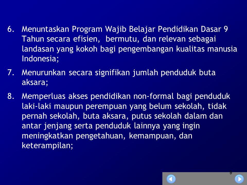 Menuntaskan Program Wajib Belajar Pendidikan Dasar 9 Tahun secara efisien, bermutu, dan relevan sebagai landasan yang kokoh bagi pengembangan kualitas manusia Indonesia;