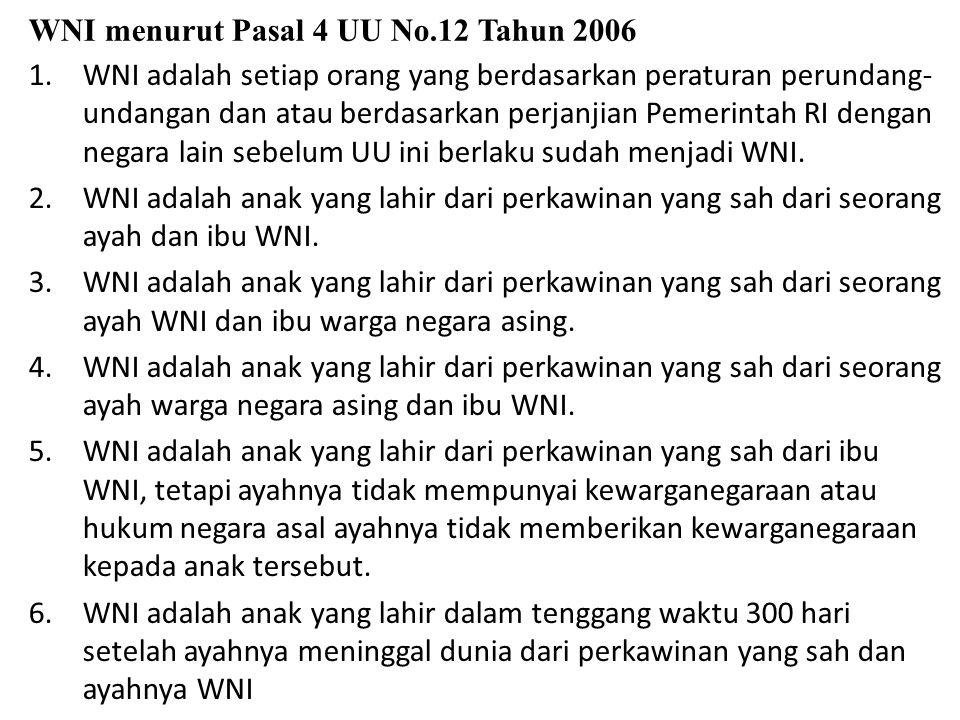 WNI menurut Pasal 4 UU No.12 Tahun 2006