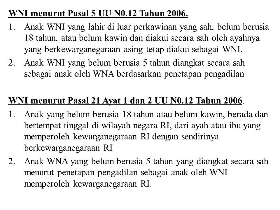 WNI menurut Pasal 5 UU N0.12 Tahun 2006.