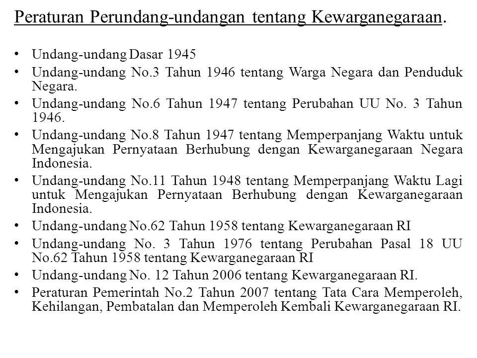 Peraturan Perundang-undangan tentang Kewarganegaraan.