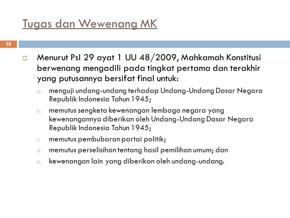 Tugas dan Wewenang MK