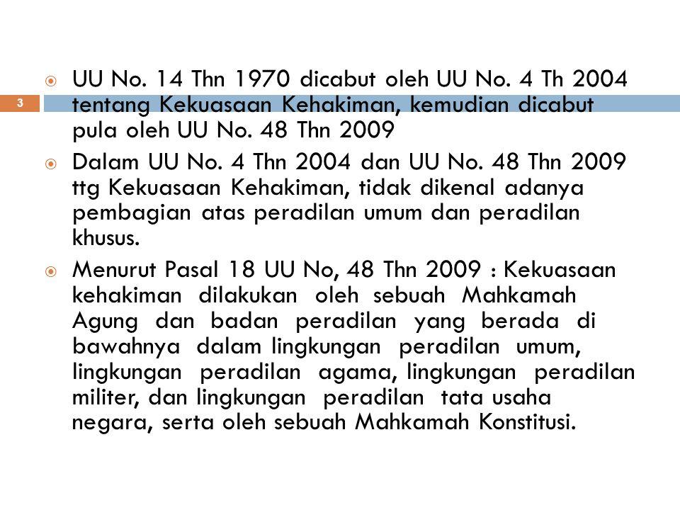 UU No. 14 Thn 1970 dicabut oleh UU No