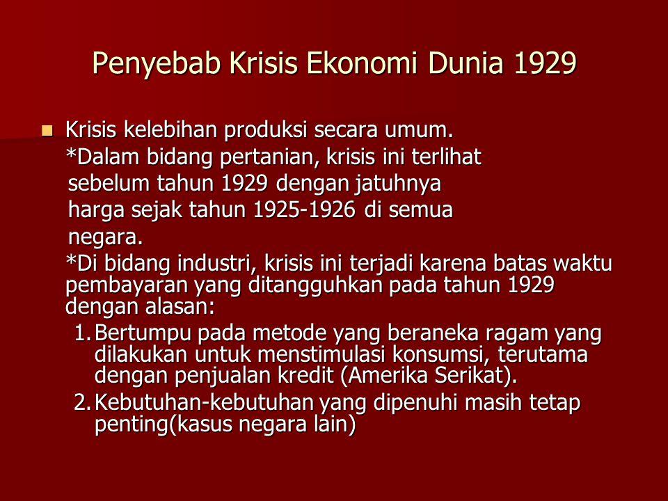 Penyebab Krisis Ekonomi Dunia 1929