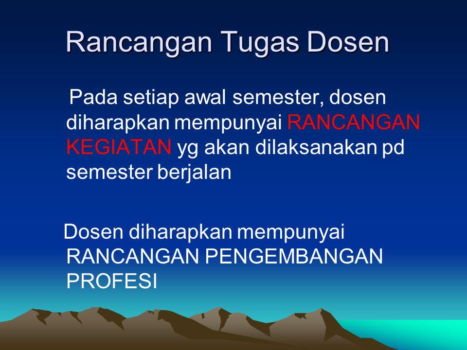 Rancangan Tugas Dosen Pada setiap awal semester, dosen diharapkan mempunyai RANCANGAN KEGIATAN yg akan dilaksanakan pd semester berjalan.