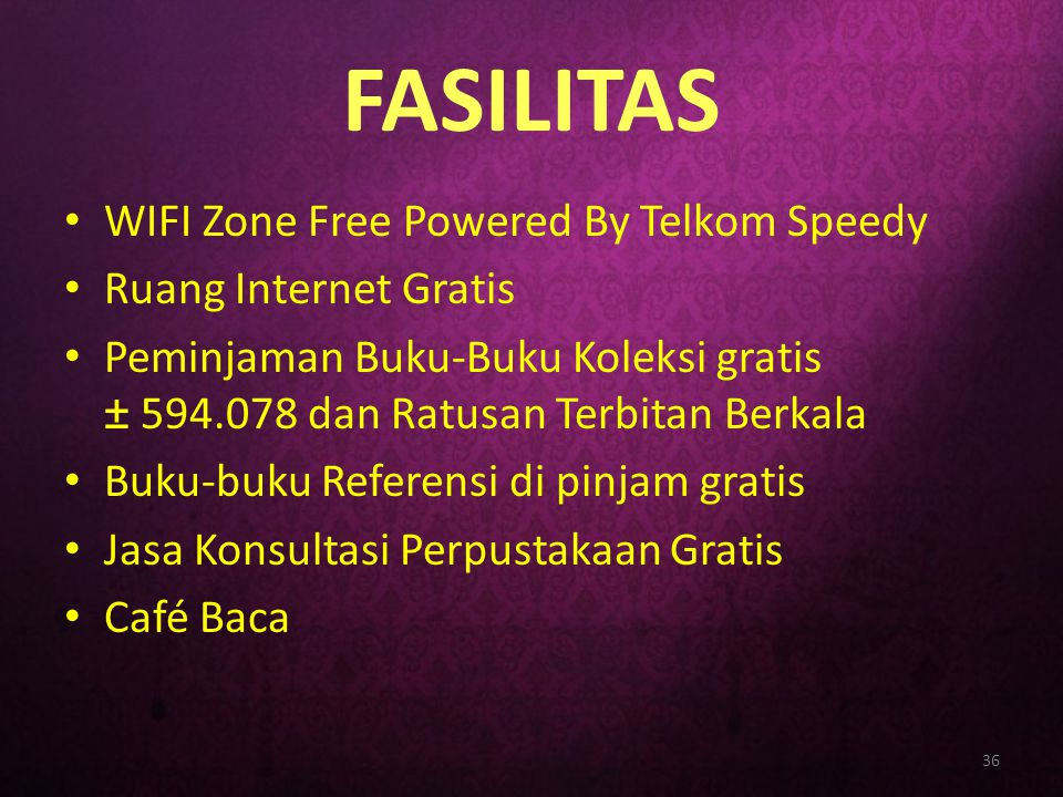 FASILITAS WIFI Zone Free Powered By Telkom Speedy