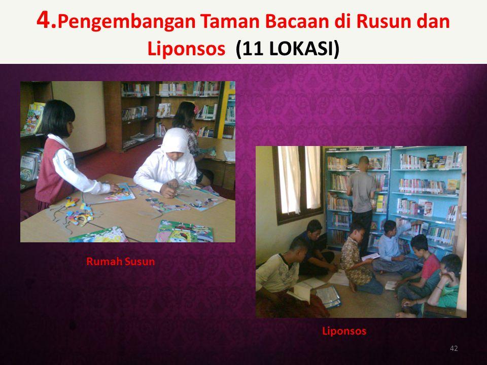 4.Pengembangan Taman Bacaan di Rusun dan Liponsos (11 LOKASI)