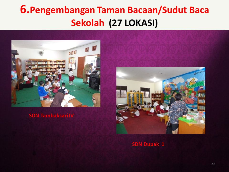 6.Pengembangan Taman Bacaan/Sudut Baca Sekolah (27 LOKASI)