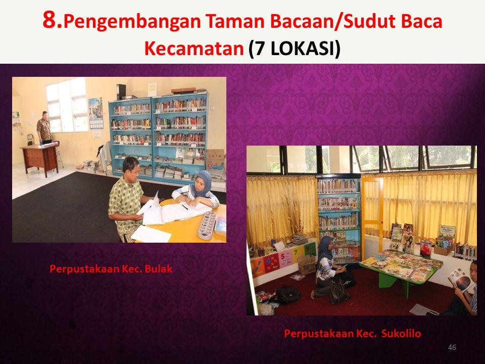 8.Pengembangan Taman Bacaan/Sudut Baca Kecamatan (7 LOKASI)