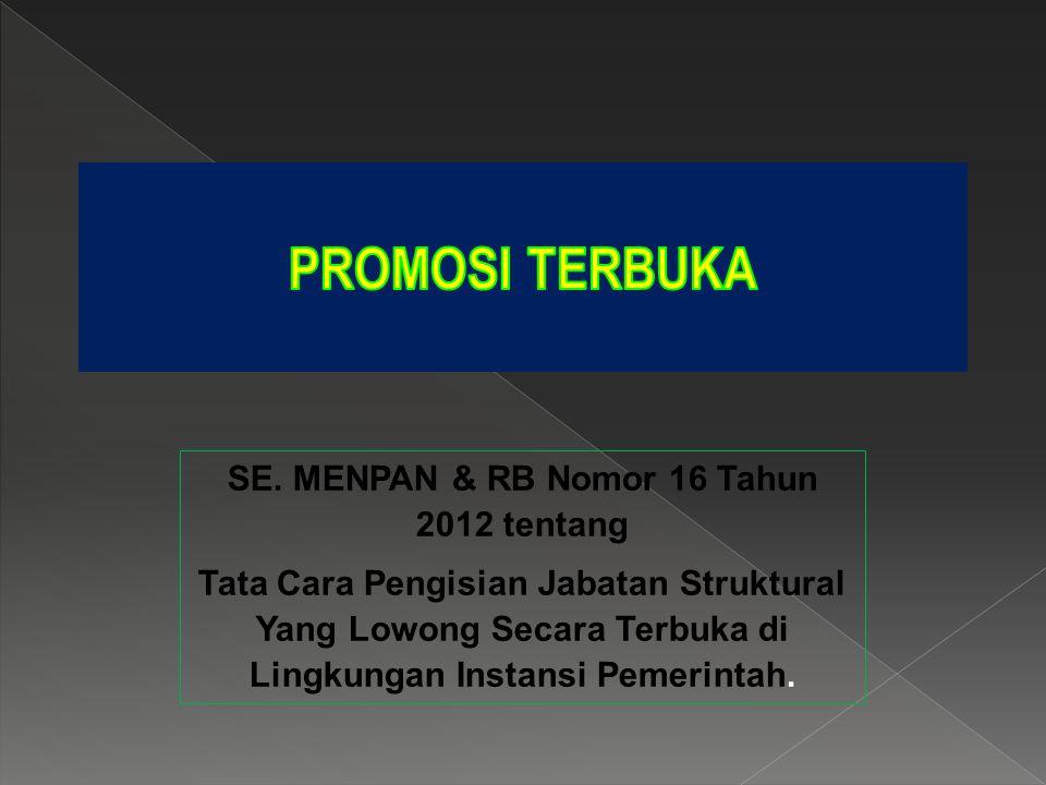 SE. MENPAN & RB Nomor 16 Tahun 2012 tentang