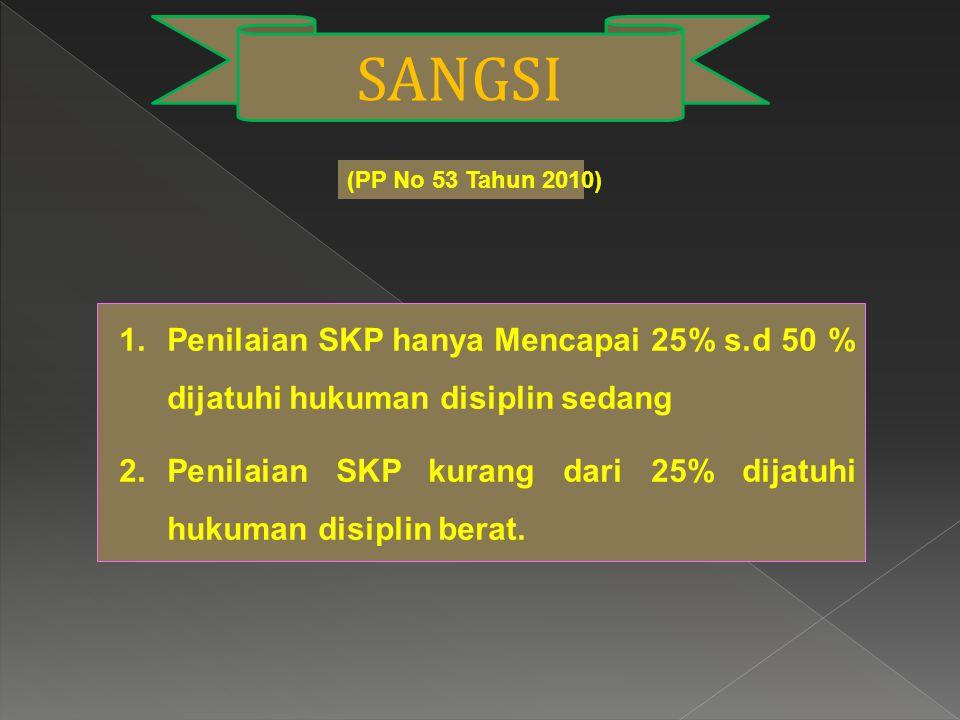 SANGSI (PP No 53 Tahun 2010) Penilaian SKP hanya Mencapai 25% s.d 50 % dijatuhi hukuman disiplin sedang.