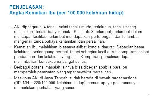 PENJELASAN : Angka Kematian Ibu (per 100.000 kelahiran hidup)