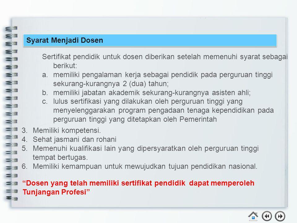 Syarat Menjadi Dosen Sertifikat pendidik untuk dosen diberikan setelah memenuhi syarat sebagai berikut: