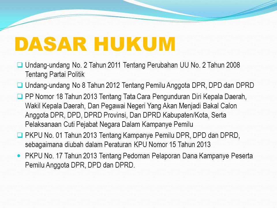 DASAR HUKUM Undang-undang No. 2 Tahun 2011 Tentang Perubahan UU No. 2 Tahun 2008 Tentang Partai Politik.