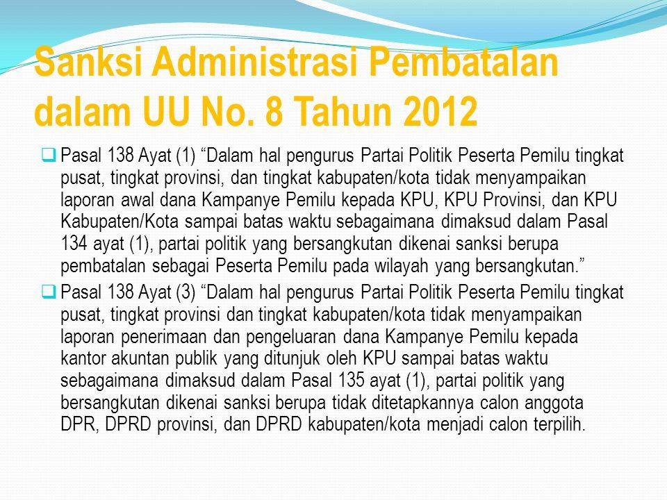 Sanksi Administrasi Pembatalan dalam UU No. 8 Tahun 2012