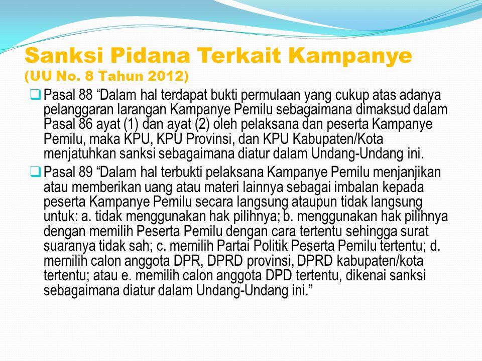 Sanksi Pidana Terkait Kampanye (UU No. 8 Tahun 2012)