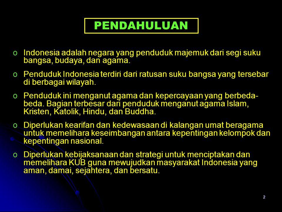 PENDAHULUAN Indonesia adalah negara yang penduduk majemuk dari segi suku bangsa, budaya, dan agama.
