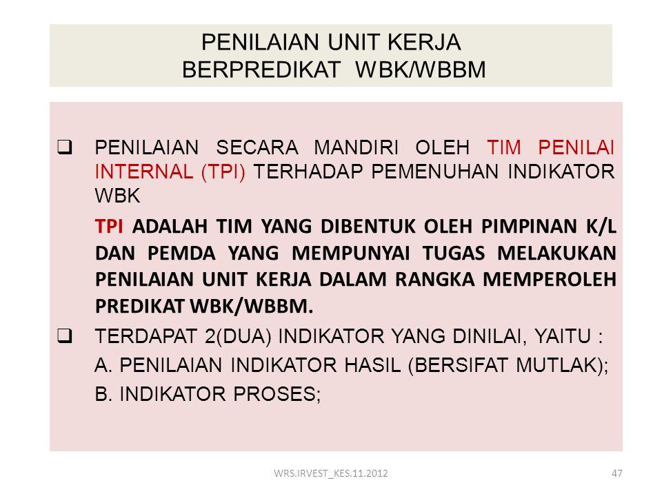 PENILAIAN UNIT KERJA BERPREDIKAT WBK/WBBM