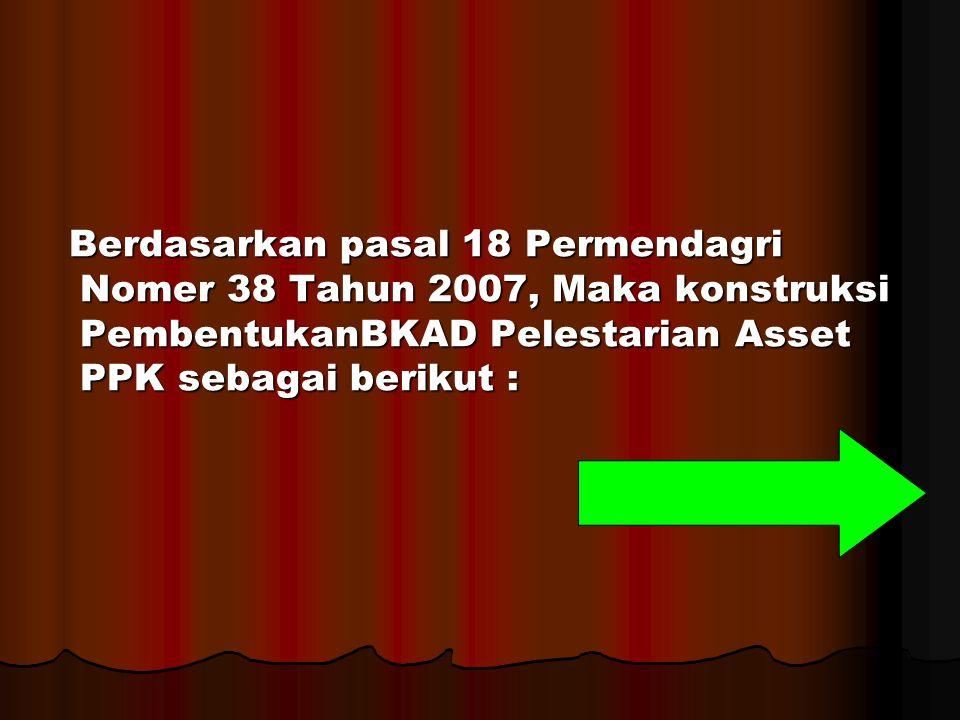 Berdasarkan pasal 18 Permendagri Nomer 38 Tahun 2007, Maka konstruksi PembentukanBKAD Pelestarian Asset PPK sebagai berikut :