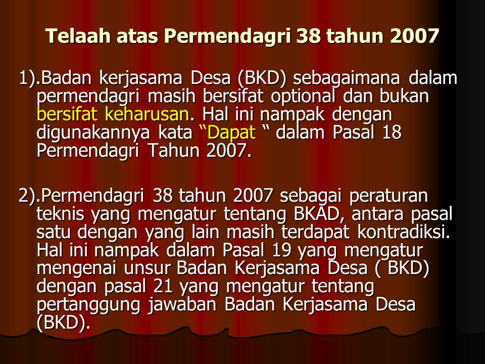 Telaah atas Permendagri 38 tahun 2007