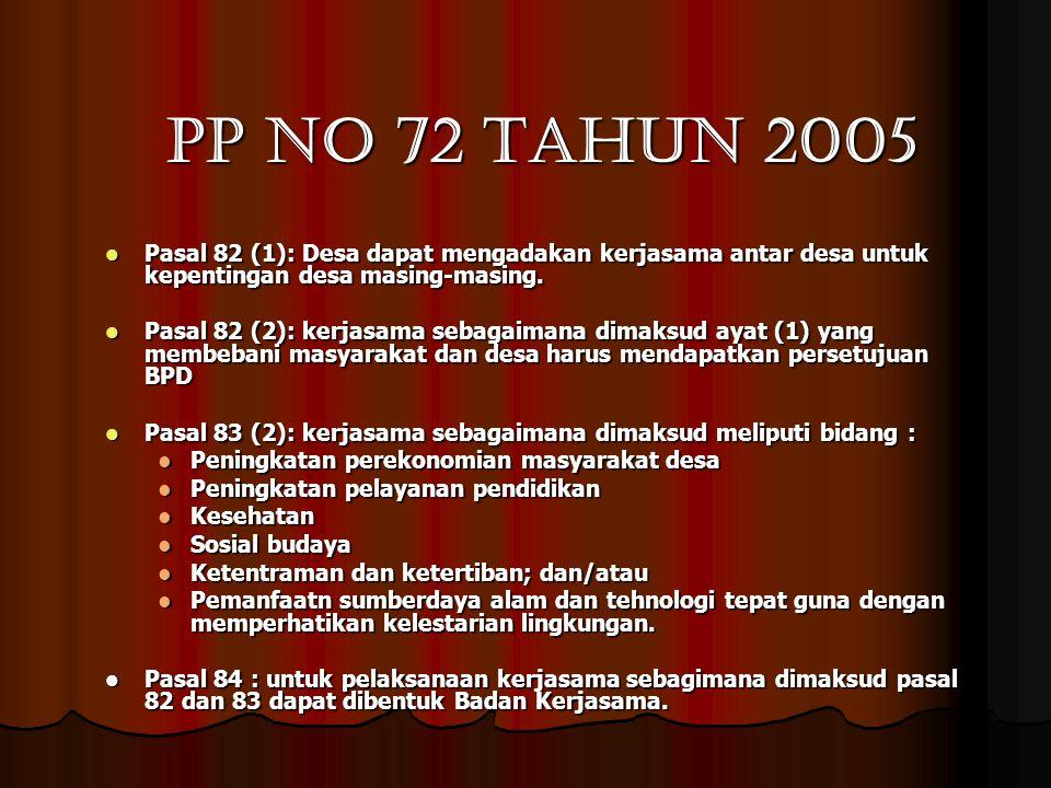PP no 72 tahun 2005 Pasal 82 (1): Desa dapat mengadakan kerjasama antar desa untuk kepentingan desa masing-masing.