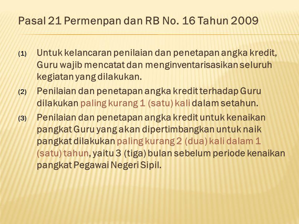 Pasal 21 Permenpan dan RB No. 16 Tahun 2009