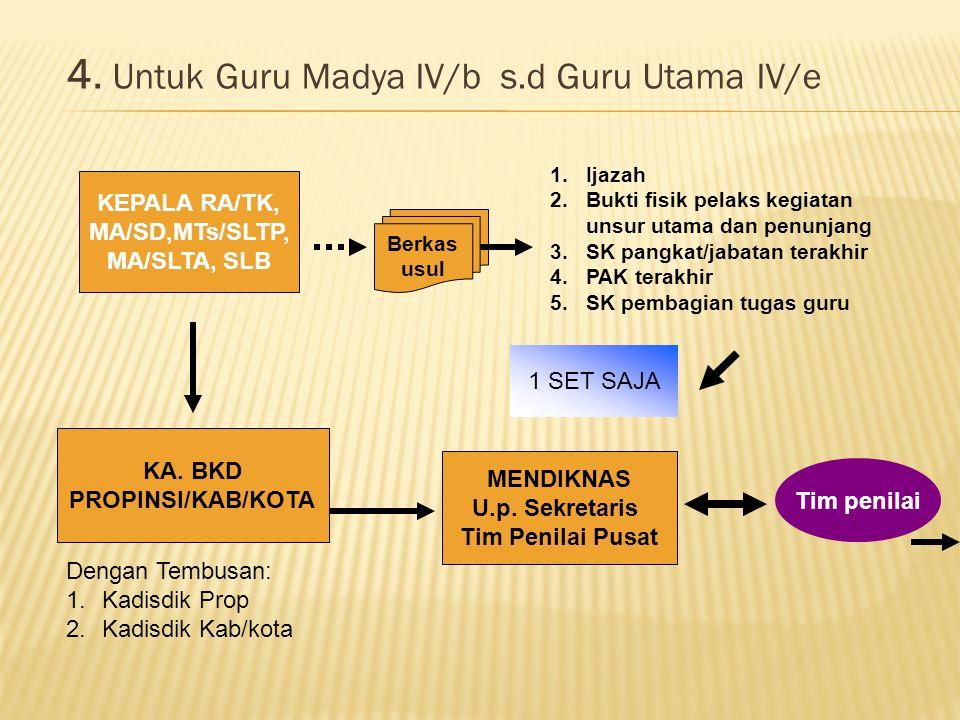 4. Untuk Guru Madya IV/b s.d Guru Utama IV/e