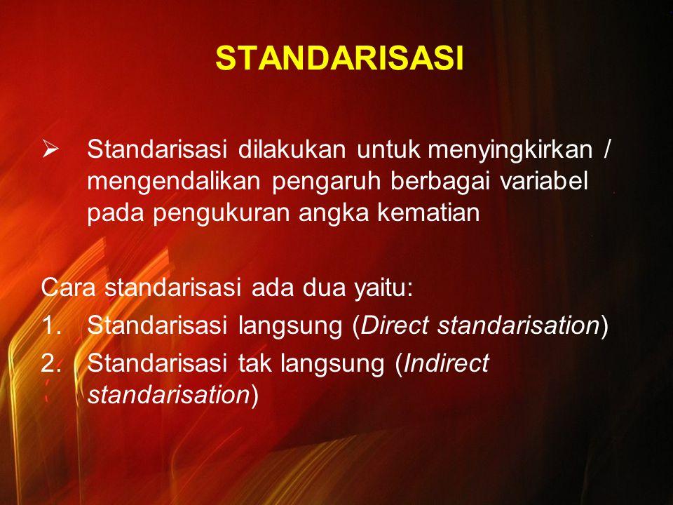 STANDARISASI Standarisasi dilakukan untuk menyingkirkan / mengendalikan pengaruh berbagai variabel pada pengukuran angka kematian.