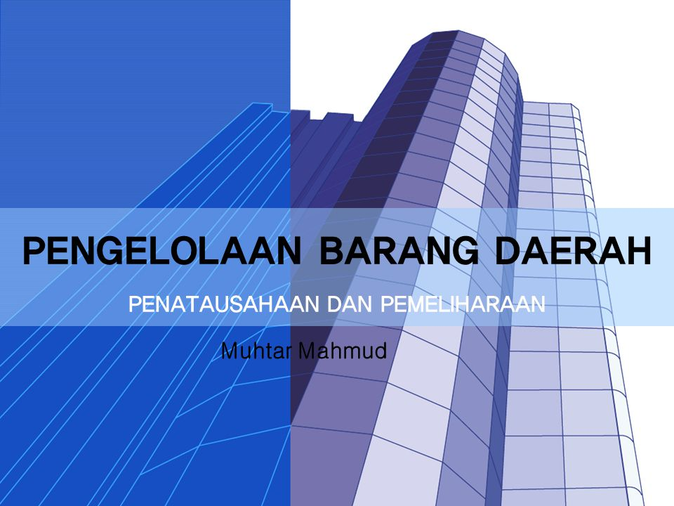 PENGELOLAAN BARANG DAERAH