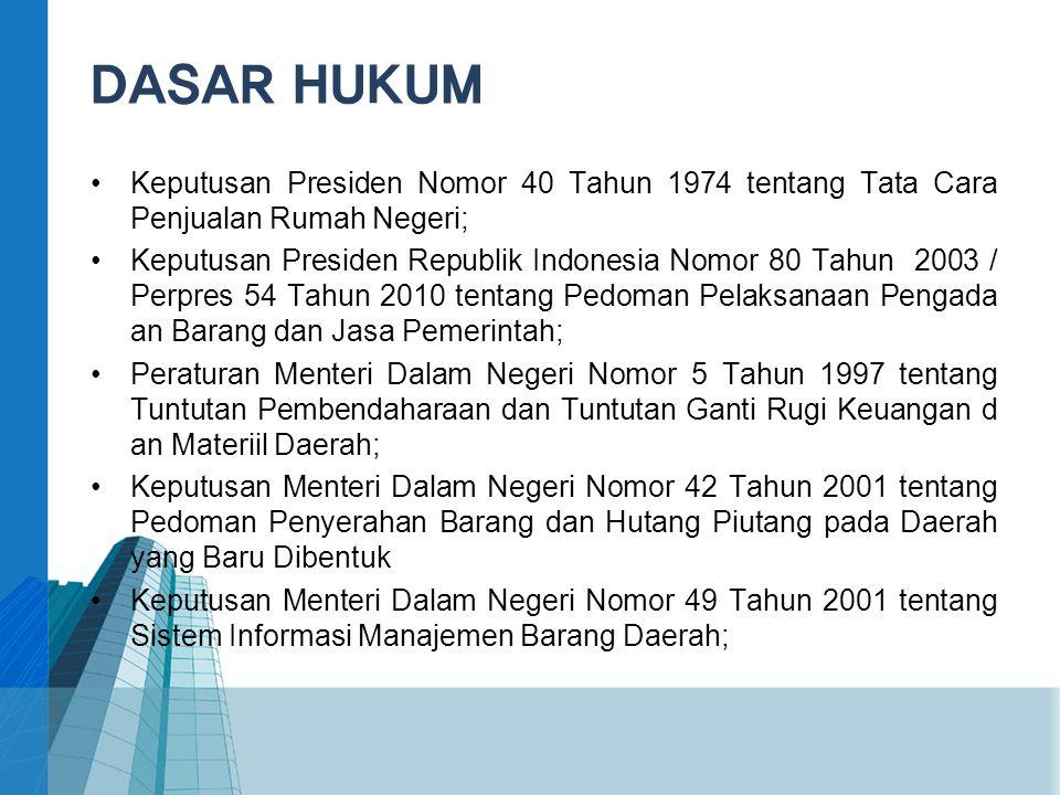 DASAR HUKUM Keputusan Presiden Nomor 40 Tahun 1974 tentang Tata Cara Penjualan Rumah Negeri;