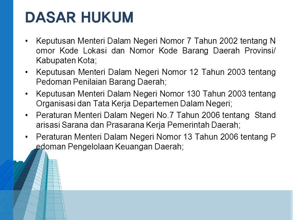 DASAR HUKUM Keputusan Menteri Dalam Negeri Nomor 7 Tahun 2002 tentang Nomor Kode Lokasi dan Nomor Kode Barang Daerah Provinsi/ Kabupaten Kota;