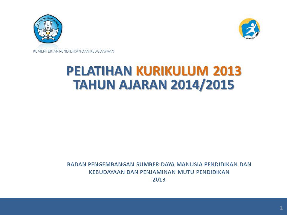 PELATIHAN KURIKULUM 2013 TAHUN AJARAN 2014/2015