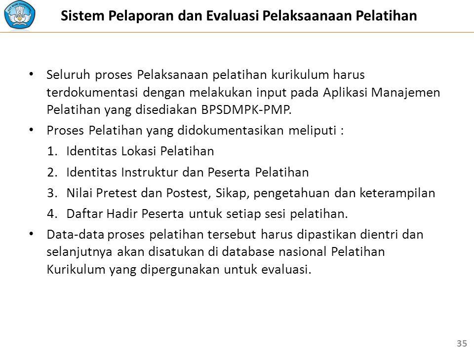 Sistem Pelaporan dan Evaluasi Pelaksaanaan Pelatihan
