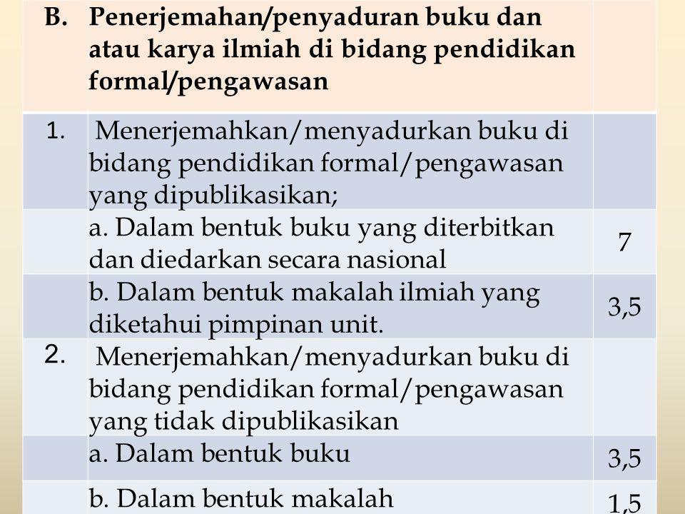 B. Penerjemahan/penyaduran buku dan atau karya ilmiah di bidang pendidikan formal/pengawasan. 1.