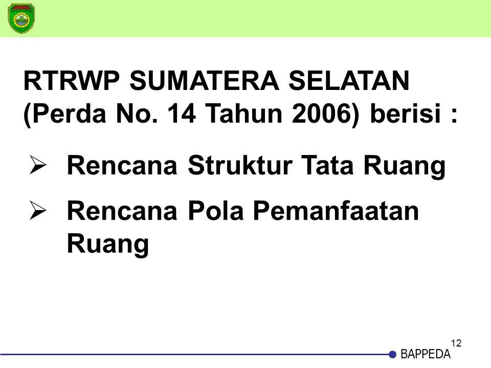 RTRWP SUMATERA SELATAN (Perda No. 14 Tahun 2006) berisi :