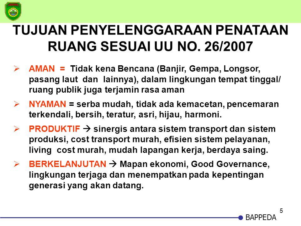 TUJUAN PENYELENGGARAAN PENATAAN RUANG SESUAI UU NO. 26/2007