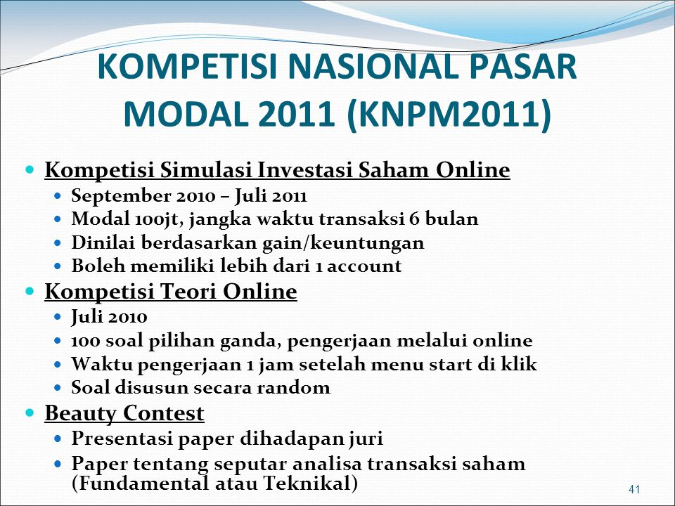 KOMPETISI NASIONAL PASAR MODAL 2011 (KNPM2011)