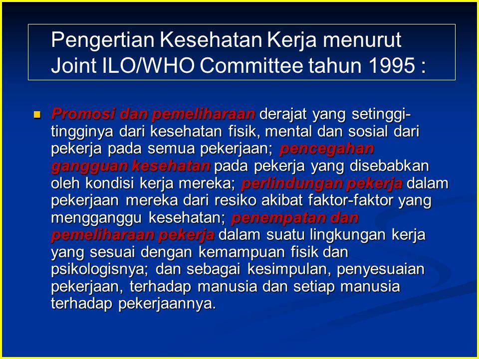 Pengertian Kesehatan Kerja menurut Joint ILO/WHO Committee tahun 1995 :