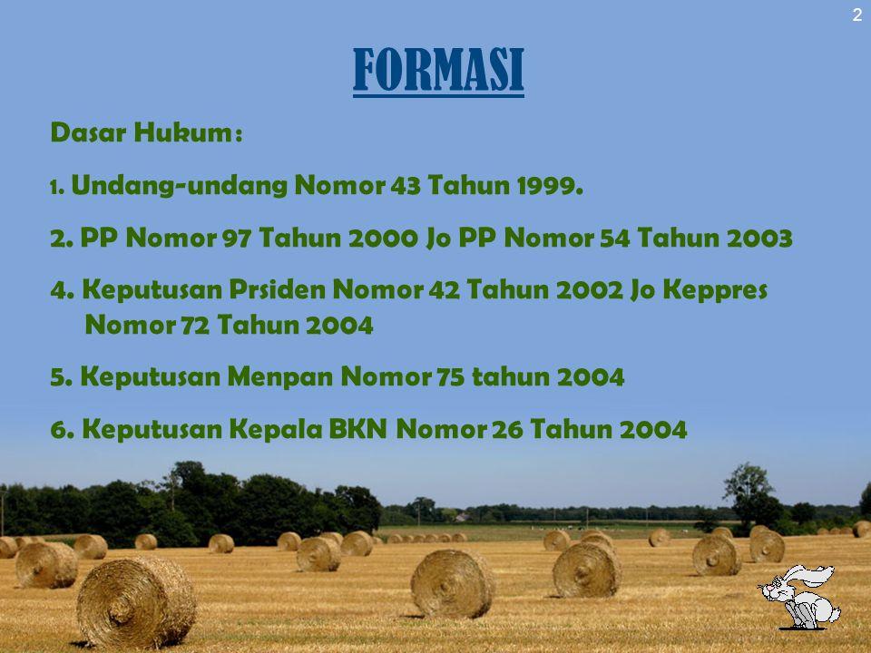 FORMASI Dasar Hukum : 1. Undang-undang Nomor 43 Tahun 1999. 2. PP Nomor 97 Tahun 2000 Jo PP Nomor 54 Tahun 2003.