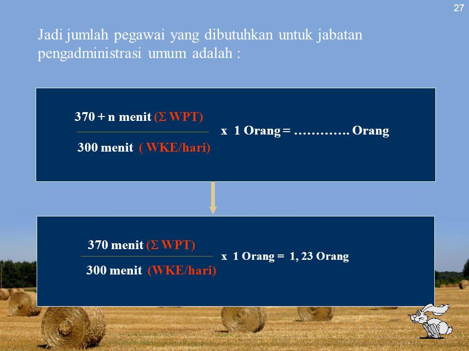 Jadi jumlah pegawai yang dibutuhkan untuk jabatan pengadministrasi umum adalah :