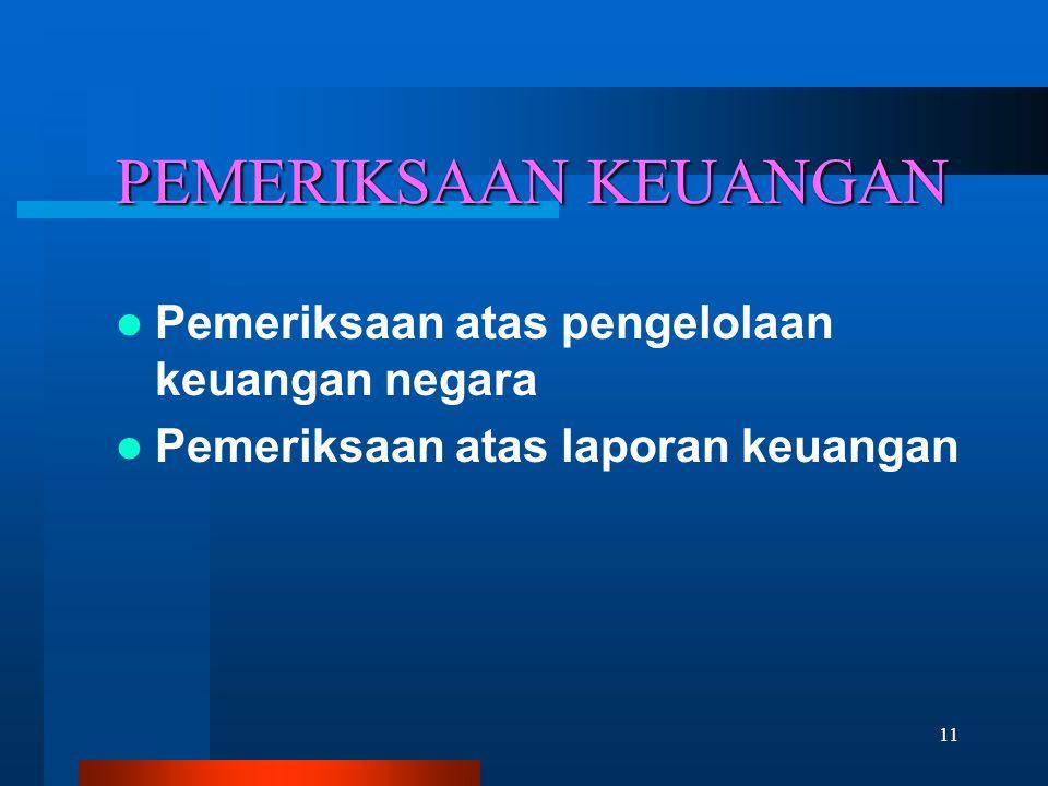 PEMERIKSAAN KEUANGAN Pemeriksaan atas pengelolaan keuangan negara