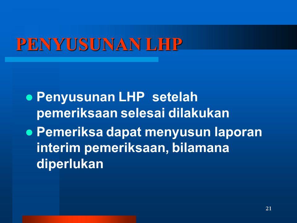 PENYUSUNAN LHP Penyusunan LHP setelah pemeriksaan selesai dilakukan