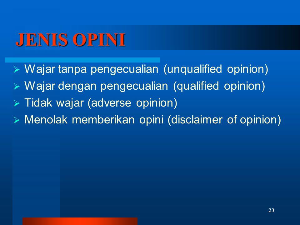 JENIS OPINI Wajar tanpa pengecualian (unqualified opinion)