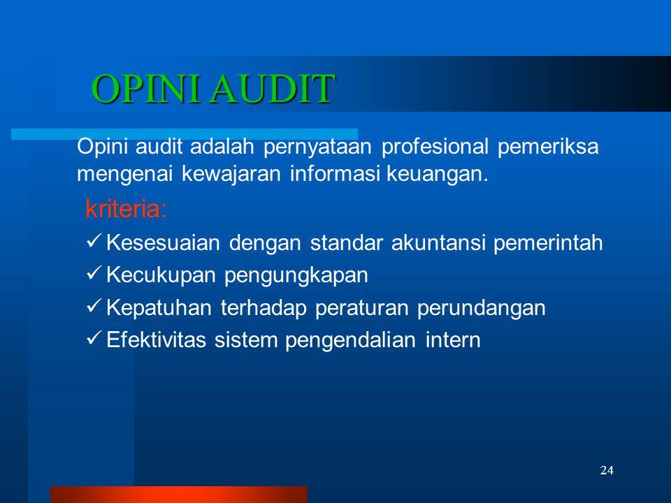 OPINI AUDIT Opini audit adalah pernyataan profesional pemeriksa mengenai kewajaran informasi keuangan.