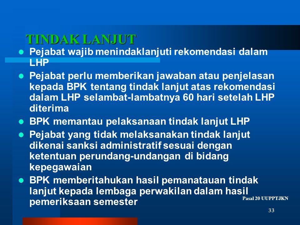 TINDAK LANJUT Pejabat wajib menindaklanjuti rekomendasi dalam LHP
